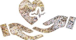 Collage av peope i form av öppen händer och hjärta Arkivbilder
