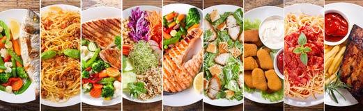 Collage av plattor av mat, bästa sikt arkivfoton