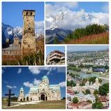 Collage av populära Georgia touristic gränsmärken, unesco-arv Royaltyfri Foto