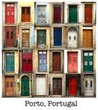 Collage av portugisiska trädörrar royaltyfri foto