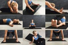Collage av praktiserande yoga för ung kvinna royaltyfria foton