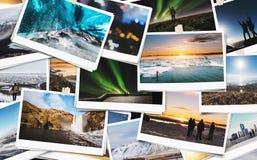 Collage av resandebildfotografiet i Island som håller bästa minnen av den lyckliga dagen Fotografering för Bildbyråer