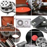 Collage av retro musik och fotoet och videoutrustning grammofon Arkivfoton