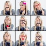 Collage av roliga framsidor för kvinna Arkivfoton