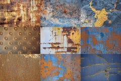 Collage av rostig metall Bakgrundstextur av skrapat gammalt skadat järn royaltyfria bilder