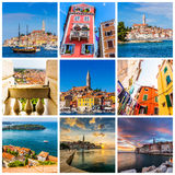 Collage av Rovinj foto i Kroatien Royaltyfri Bild