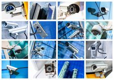 Collage av säkerhetskameran och den stads- videoen arkivfoton