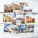 Collage av sikt i Warszawa Arkivbild