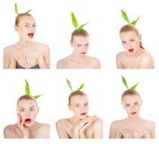 Collage av sinnesrörelser. Flicka som utför olika uttryck med henne framsida. Arkivfoton