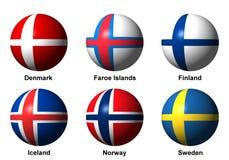 Collage av skandinavflaggor med etiketter Royaltyfri Bild