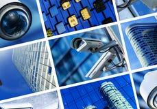Collage av säkerhetskameran och den stads- videoen Fotografering för Bildbyråer