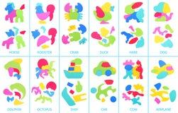 Collage av skumpusslet Församlade och demonteraa pussel Royaltyfria Bilder