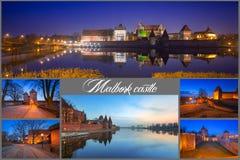 Collage av slotten i Malbork royaltyfri fotografi