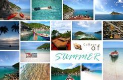 Collage av sommarhavs- och strandbilder royaltyfria bilder