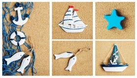 Collage av sommarhavsgarnering arkivfoto