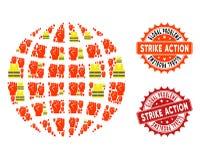 Collage av stämplar för för Gilet Jaunes protestjordklot och strejk stock illustrationer