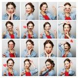 Collage av stående av den lyckliga kvinnan Arkivfoto