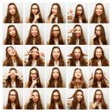 Collage av stående av den lyckliga kvinnan royaltyfri fotografi