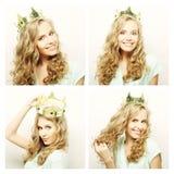 Collage av stående av en härlig ung kvinna royaltyfria bilder