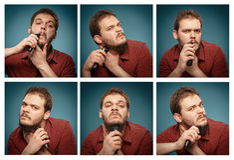 Collage av stående: Man vem rakar hans skägg med en beskärare Arkivbild