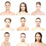Collage av stående av unga kvinnor på vit royaltyfria foton