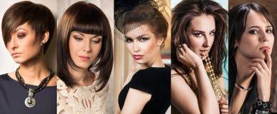 Collage av stilfulla härliga kvinnor royaltyfria foton