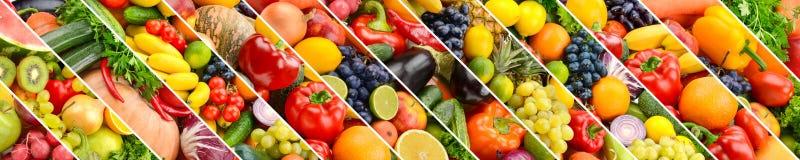 Collage av sunda frukter och grönsaker delade sneda linjer royaltyfri fotografi