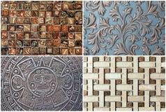 Collage av texturväggen, mosaik, prydnad, modell Royaltyfri Bild