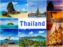 Collage av Thailand bilder arkivfoton
