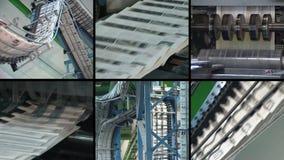 Collage av tidningsutskrift Press för dagligt papper för maskintryck stock video