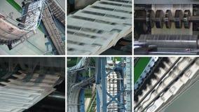 Collage av tidningsutskrift Press för dagligt papper för maskintryck lager videofilmer