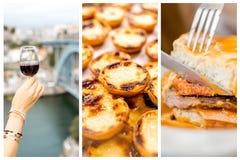 Collage av traditionell portugisisk kokkonst arkivbild