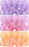 Collage av tre färgrika kort för hälsning för vinterferie med skinande stjärnor Royaltyfria Bilder