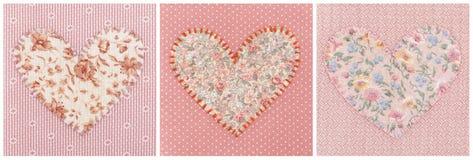 Collage av tre handgjorda hjärtor Fotografering för Bildbyråer