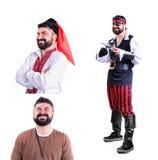 Collage av tre isolerade bilder: närbildstående av att le Royaltyfria Foton