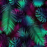 Collage av tropiska sidor Collage av fl?ckar stock illustrationer