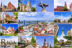 Collage av turist- dragningar i Riga, Lettland royaltyfri foto