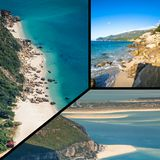 Collage av turist- foto av Sintraen, Portugal royaltyfria foton
