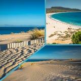 Collage av turist- foto av Tarifaen, Spanien royaltyfri foto