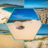 Collage av turist- foto av Tarifaen, Spanien royaltyfri fotografi