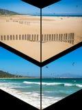 Collage av turist- foto av Tarifaen, Spanien fotografering för bildbyråer