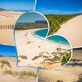 Collage av turist- foto av Tarifaen, Spanien arkivbild
