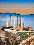 Collage av turist- foto av Tunis fotografering för bildbyråer