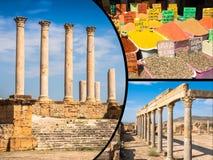 Collage av turist- foto av Tunis arkivbild