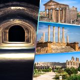 Collage av turist- foto av Tunis royaltyfri foto