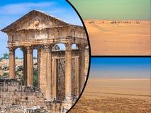 Collage av turist- foto av Tunis royaltyfria bilder