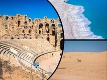 Collage av turist- foto av Tunis arkivfoton