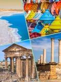 Collage av turist- foto av Tunis arkivfoto