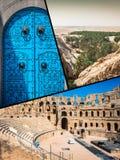 Collage av turist- foto av Tunis arkivbilder