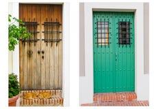Collage av två dörrar i gammala San Juan, Puerto Rico Arkivbilder